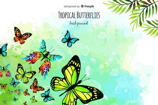 Fundo de borboletas em aquarela