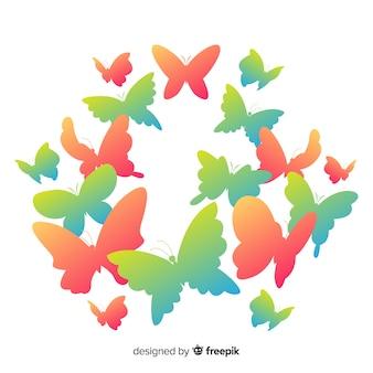 Fundo de borboletas gradiente