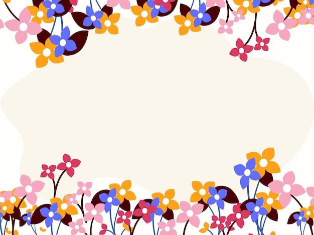 Fundo de borda de flores coloridas