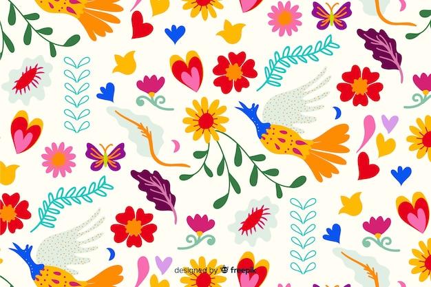Fundo de bordado floral colorido