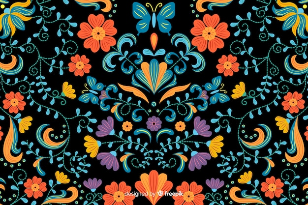 Fundo de bordado floral mexicano
