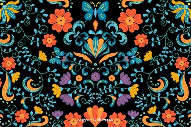 Fundo de bordado floral mexicano