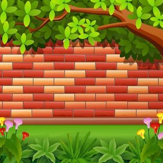 Fundo de brickwall vermelho com árvore