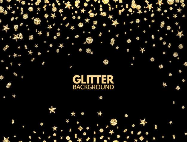 Fundo de brilho. confetes caindo glitter dourados