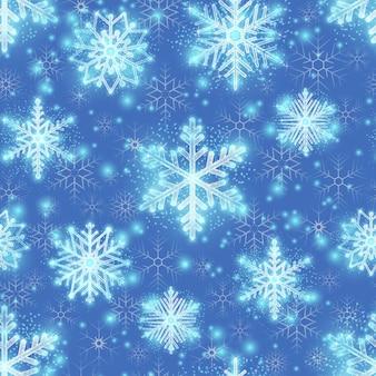 Fundo de brilho de natal com flocos de neve. padrão de inverno, design infinito sem costura para o natal, ilustração vetorial