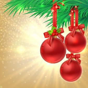 Fundo de brilho dourado de natal com bolas vermelhas de natal