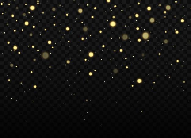 Fundo de brilho dourado efeito bokeh amarelo de poeira luzes e estrelas douradas caindo abstratas