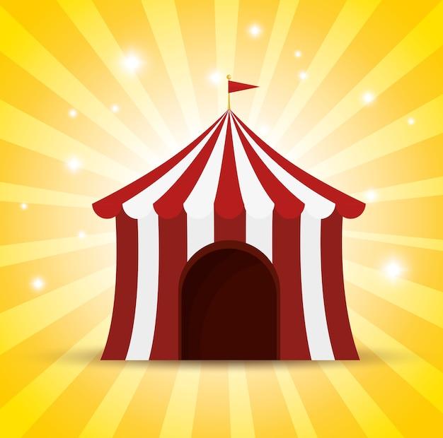 Fundo de brilho vermelho e branco de tenda de circo