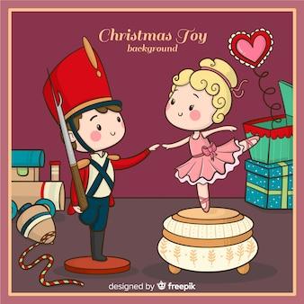 Fundo de brinquedo de natal de mão desenhada