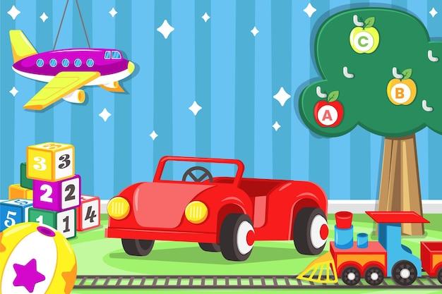 Fundo de brinquedos de natal de design plano
