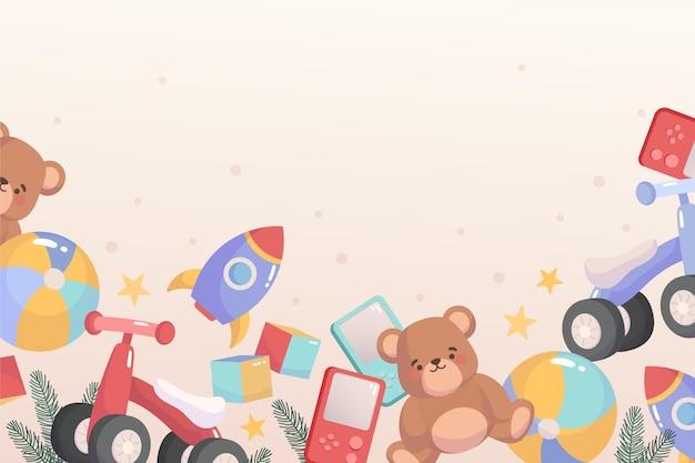 Fundo de brinquedos de natal desenhado à mão
