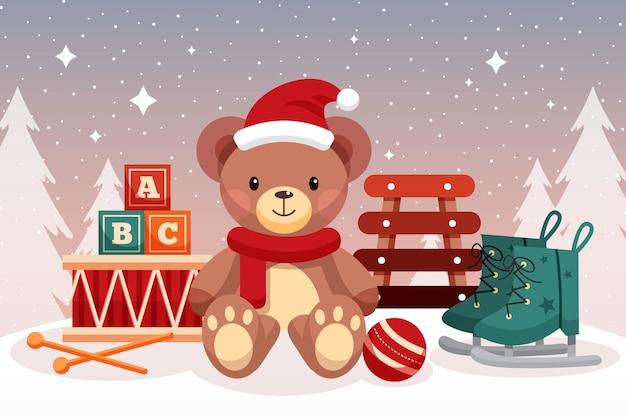 Fundo de brinquedos de natal em design plano