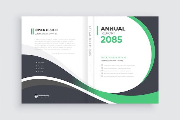 Fundo de brochura com formas geométricas, modelo de capa de livro aberto