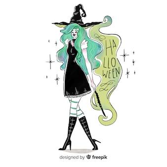 Fundo de bruxa de halloween criativo
