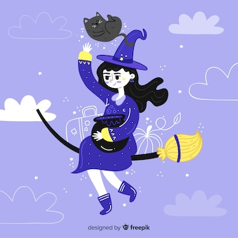 Fundo de bruxa de halloween de giro mão desenhada