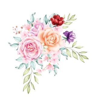 Fundo de buquê de flores em aquarela