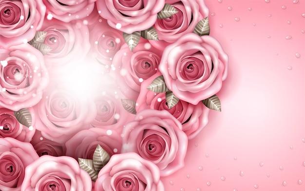 Fundo de buquê de rosas românticas, pétalas de rosa e gotas de água isoladas em fundo rosa, ilustração 3d