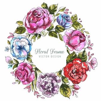 Fundo de cacho de flores coloridas decorativas lindas