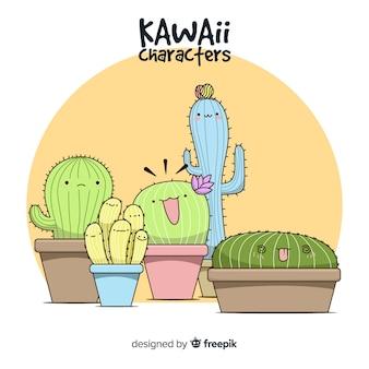 Fundo de cacto kawaii mão desenhada