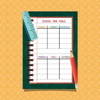 Fundo de caderno de horário escolar