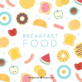 Fundo de café da manhã com design plano