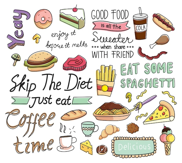 Fundo de café em estilo doodle