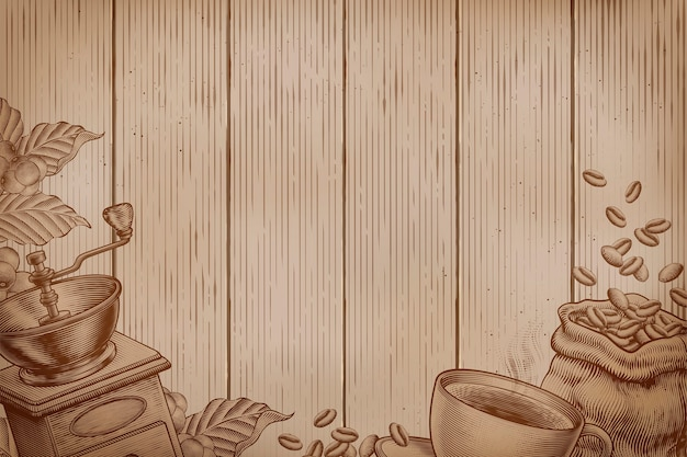 Fundo de café em pranchas de madeira em estilo de gravura
