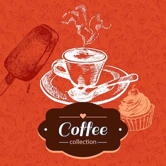 Fundo de café vintage. ilustração do esboço desenhado de mão. design do menu
