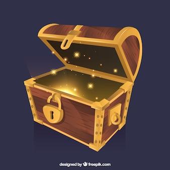 Fundo de caixa de tesouro com ouro e diamantes