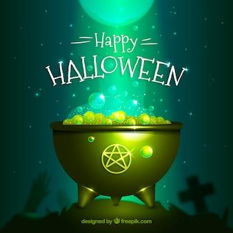 Fundo de caldeirão do dia das bruxas feliz
