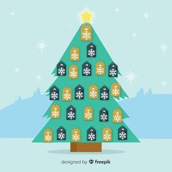 Fundo de calendário de advento de árvore de natal