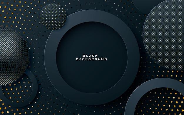Fundo de camada de círculo preto com brilhos dourados