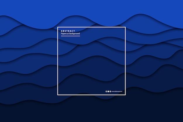 Fundo de camada de corte de papel azul isolado realista de vetor