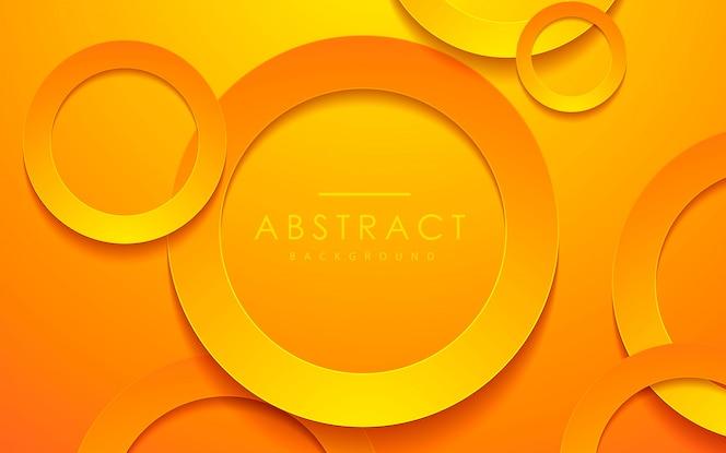 Fundo de camada papercut laranja círculo 3d