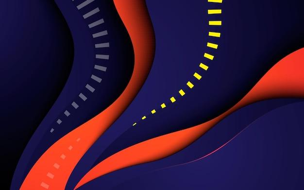 Fundo de camadas de dimensão abstrata dinâmica ondulada laranja e azul