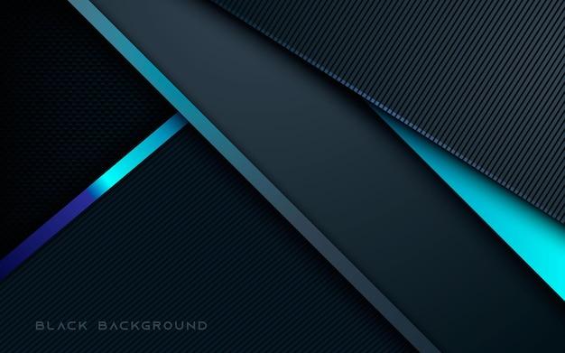 Fundo de camadas de dimensão abstrata em preto e azul