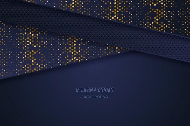 Fundo de camadas de papel azul escuro com detalhes dourados