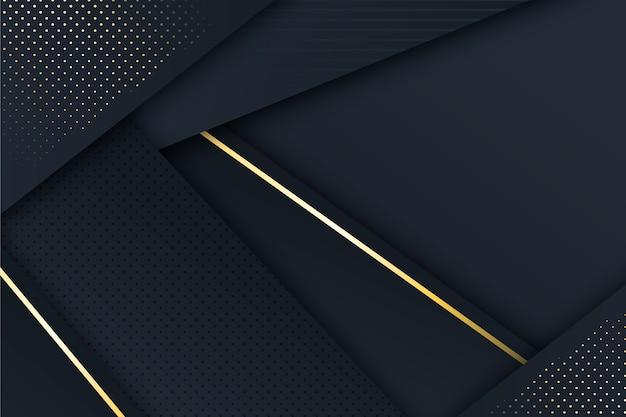 Fundo de camadas de papel escuro com detalhes dourados