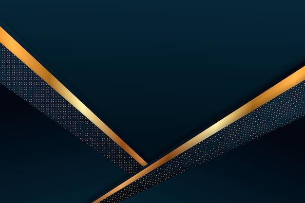 Fundo de camadas de papel escuro com tema de detalhes em ouro