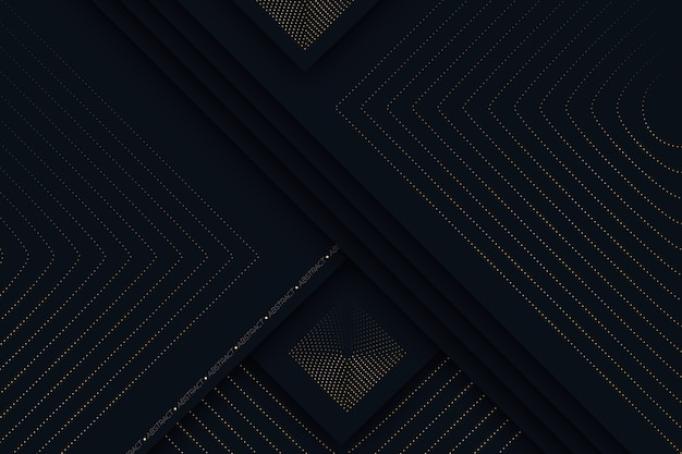Fundo de camadas de papel escuro detalhado dourado