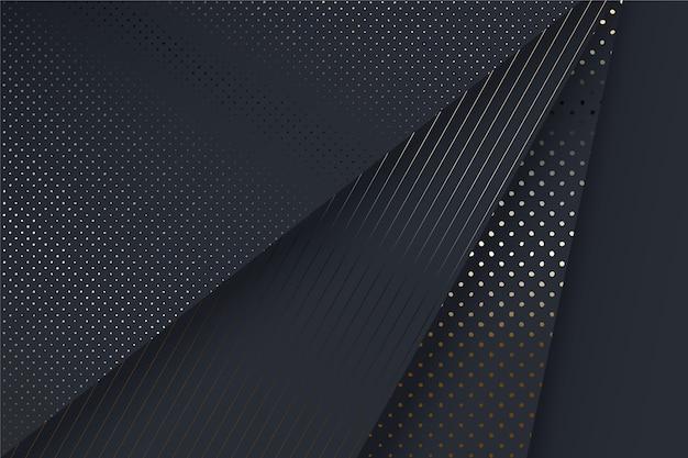 Fundo de camadas de papel preto com detalhes dourados