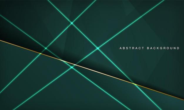 Fundo de camadas de sobreposição de luxo verde abstrato com linha dourada e decoração com efeito de luz neon