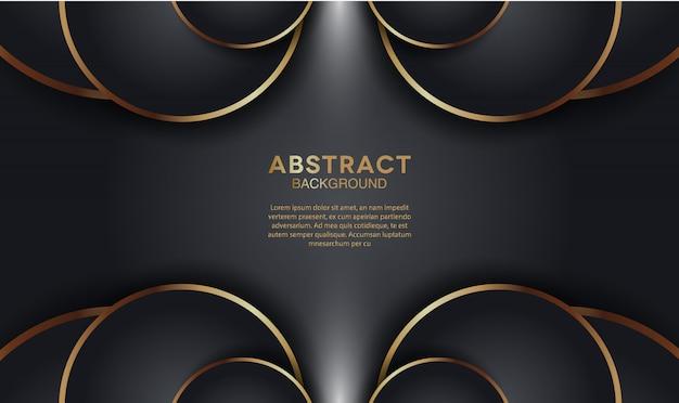 Fundo de camadas de sobreposição elegante escuro com forma de círculo de ouro