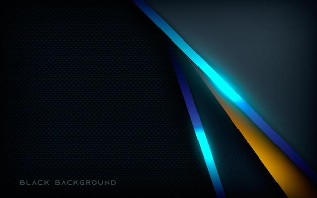Fundo de camadas de sobreposição escuro abstrato com luz azul
