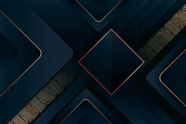 Fundo de camadas escuras com detalhes dourados