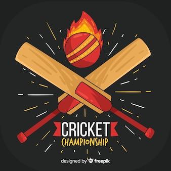 Fundo de campeonato de críquete com bola de fogo e morcegos