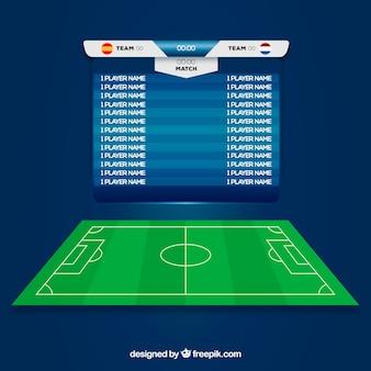 Fundo de campo de futebol com placar