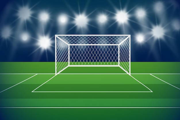 Fundo de campo de futebol gradiente com portão
