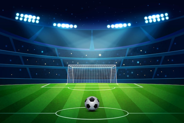 Fundo de campo de futebol realista Vetor Premium