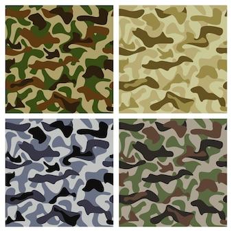 Fundo de camuflagem de cores diferentes com padrão clássico